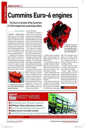 cummins euro 6 engines 5th april 2012 the commercial. Black Bedroom Furniture Sets. Home Design Ideas