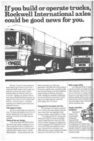 If you build or operate trucks, Rockwell International axles